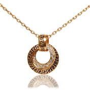 Women's 18k Gold Plated Necklace with Double Circle Pave Crystal Pendant
