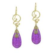 Cute Purple Reconstructed Purple Howlite Teardrop Brass Swirl Earrings