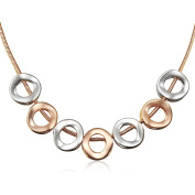 A TE Pendant Necklace Rose Gold Plated Circles Chain Valentine's Day Gift for Women JW-C09