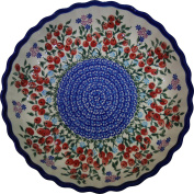 Polish Pottery Ceramika Boleslawiec 1212/282 Royal Blue Patterns 4-Cup 25cm Diameter Pie Baker, Small, Red Berries and Daisies