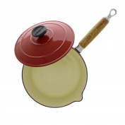 Chasseur 2.4l Red French Enamelled Cast Iron Saucepan With Wooden Handle