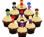 Superhero Party Pack - Edible Cupcake Toppers - Stand-up Wafer Cake Decorations