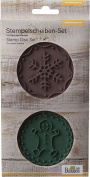 """Birkmann """"Gingerbread Man and Snowflake"""" Stamp Disc Set, Silicone, Brown/Green, 2-Piece"""