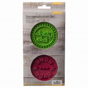 "Birkmann ""Gluckskeks and Home Made"" Stamps Slices Set, Silicone, Green/Dark Red"