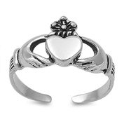 Lilu Jewels Sterling Silver 925 Claddagh Women's / Girl's Adjustable Knuckle Ring, Toe Ring