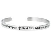 Qina C. Side By Side Or Miles Apart. Best Friends Are Always Connected By Heart Adjustable Cuff Bracelet Wristband Bangle