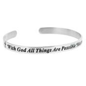 Qina C. Christian Bible With God All Things Are Possible Adjustable Cuff Bracelet Wristband Bangle