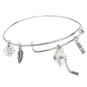Sterling Silver Graduation Cap 2016 Feather Dangle Charm Made With Love Heart Adjustable Bangle Bracelet
