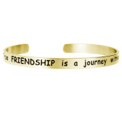 Qina C. True Friendship Is A Journey Without End Adjustable Cuff Bracelet Wristband Bangle