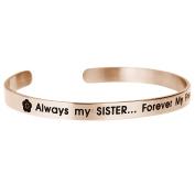 Qina C. Always My Sister Forever My Friend Adjustable Cuff Bracelet Wristband Bangle