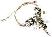 Macrame Bracelet Beaded Bracelet Russian Doll Charm Cream Cord Bracelet 114248
