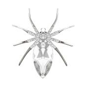 QUKE Fashion spider Clear Austrian Elements Crystal brooch Pin for women dresses Halloween
