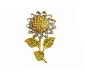 Gudeke Gold Plated Full Inlay Crystal Rhinestone Sunflower Bouquet Brooch and Pin Corsage with Gift Bag