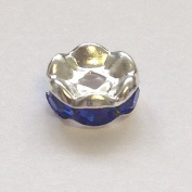 10 pieces 6mm Silver Tone Spacer Rhinestone Beads - A5679