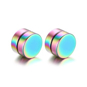 OAKKY Unisex Stainless Steel Punk Round Magnetic Fake Plugs No Piercing Clip On Stud Earrings Multicolor