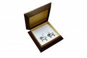 English Bulldog , silver-plated earrings with an image of a dog, ArtDog