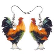 BONSNY Pop-Art Farmyard Collection Funky Chicken Long Drop Earrings