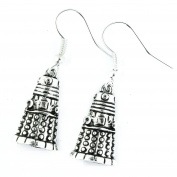 TFB - FUNKY STUNNING SILVER DARLEK DANGLE EARRINGS QUIRKY GIFT