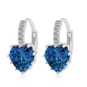 TININNA Vintage Heart Sparkling Crystal Rhinestone Hoop Earrings for Women Jewellery Accessories Silver Light Blue