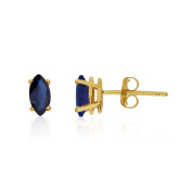 14k Yellow Gold Sapphire Marquise Earrings