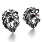 MENDINO Stainless Steel Stud Earrings Cubic Zirconia Silver Black Red Eyes Lion Gothic Mens with Gift Pouth