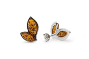 925 Sterling Silver Leaves Stud Earrings with Genuine Natural Baltic Amber.
