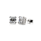 BERRICLE Sterling Silver 0.78 Carat Asscher Cut Cubic Zirconia CZ Solitaire Stud Earrings 4mm