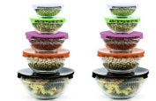 Stackable Glass Lunch Bowls / Multi Purpose Food Containers with Multi-Colour Lids - 10 Piece Set