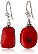 "Barse ""Basics"" Red Bamboo Coral Drop Earrings"