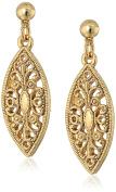 1928 Jewellery 14K Filigree Post Drop Earrings