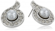 """Signature 4900cm Pearl Essentials"""" Silver-Tone Crystal and Grey Button Stud Earrings"""