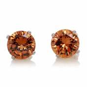 925 Sterling Silver 7mm Topaz 4 Prong Setting Stud Earrings