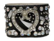 Bracelet - Black Leather with Rhinestone Crystal Heart - Kiki's Glass Heart