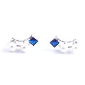 Classy Blue Sapphire White Pearl Earrings Stud
