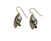 Silver Forest Silvertone and Blue Layered Dangle Earrings