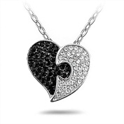 Black White Crystal Heart Love Pendant Necklace