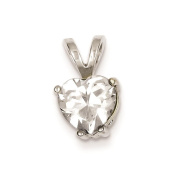 925 Sterling Silver Polished Heart CZ Charm Pendant