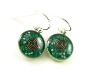 Orgone Energy Small Circle Dangle Earrings-Malachite in Antiqued Silver Finish