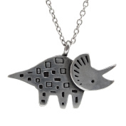 Mark Poulin Women's Pewter Necklace Triceratops Dinosaur 46cm Chain