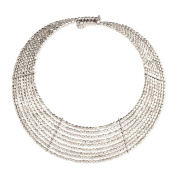 Zad Jewellery 'Goddess' 9 Line Metal Bead Collar Necklace, Silvertone