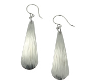 Chased Aluminium Silver Tone Long Tear Drop Earrings By John S Brana Handmade Jewellery Hypoallergenic