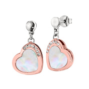 Ze Sterling Silver Rose Gold Plated Mother of Pearl Heart Earrings