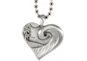 Beautiful wave curl island scene with Bird Lead-free Pewter Coastal Love Pendant