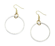 Chased Rim Aluminium Silver Tone Hoop Earrings By John S Brana Handmade Jewellery Hypoallergenic