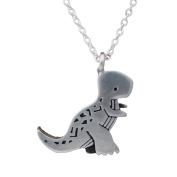 Mark Poulin Women's Pewter Necklace Tyrannosaurus Rex Dinosaur 46cm Chain