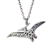 Mark Poulin Women's Pewter Necklace Pterodactyl Dinosaur 46cm Chain