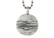 Unique wave necklace with lefts on one side and right the other Lead-free Pewter Lefts Rights Pendant
