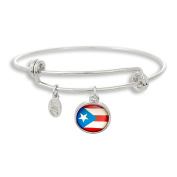 The Adjustable Band Bangle Bracelet featuring the Puerto Rico flag