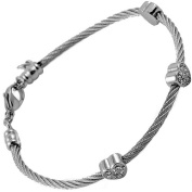 Stainless Steel Cable Bangle Bracelet for Lady with 3 Clear Jewelled Hearts