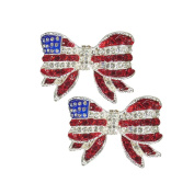 America Flag USA Patriotic Bow Tie Earrings Independence Day July 4th Jewellery P3276-ES